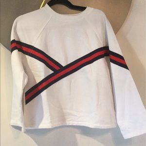 White Crew neck sweater with navy and red stripe
